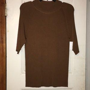 T Tahari silky short sleeve knit shirt, brown Med.